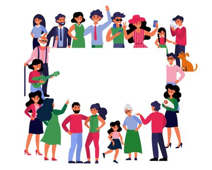 Crowd of different people standing together around blank banner. Diverse multicultural community presenting empty billboard. Flat illustration for diversity, population, society concepts