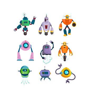 Cute futuristic robots flat icon set