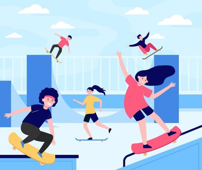 Fun extreme skateboard park flat vector illustration. Cartoon teenagers jumping and doing tricks with boards. Outdoor teenage activity and skateboarding concept