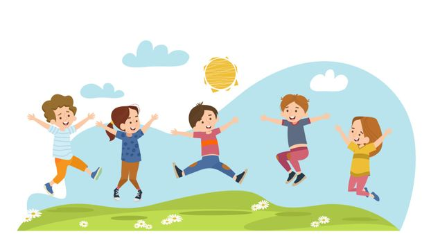 Happy children jumping on summer meadow flat vector illustration. Cartoon boys and girls playing in park at daytime. Kindergarten and childhood concept