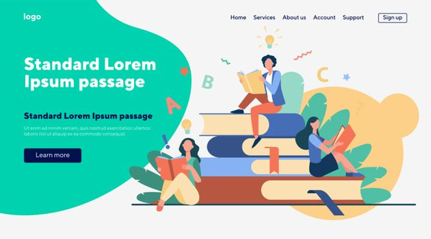 Students studying textbooks. Woman sitting on stack of books and reading. Vector illustration for library, bookworm, bookstore concept