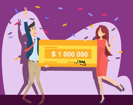 Happy guy and girl winning million dollars flat vector illustration. Young winners holding money bank cheque from jackpot. Lottery gain, prize and grant concept