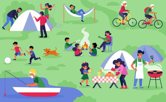 Happy diverse tourists camping on nature