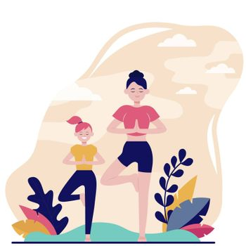 Mother and daughter doing fitness outdoors flat vector illustration. Cartoon female characters training healthy exercise in park. Sport workout and leisure concept