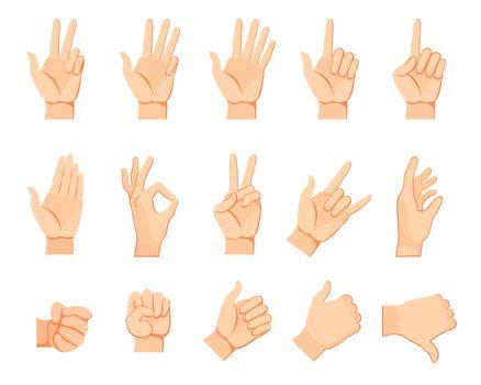 Human hand gestures set