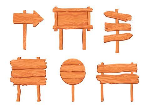 Rustic wooden signposts set