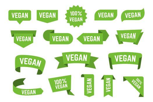 Veggie bio diet logos flat icon collection