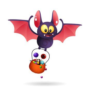 Funny cute bat carrying treats