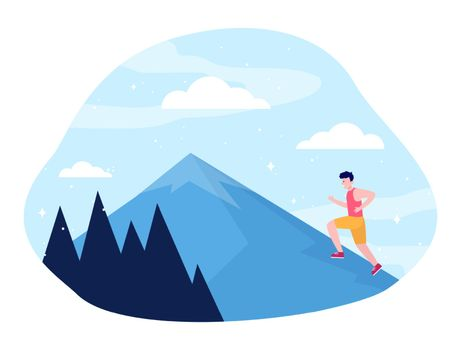 Young man climbing on mountain