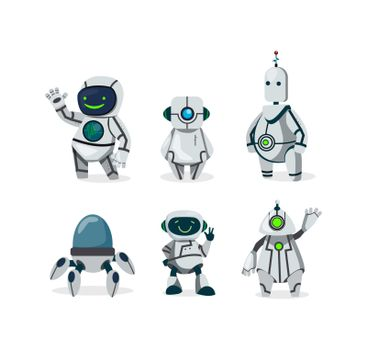 Cute robots flat icon set