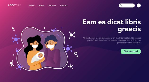 Unhappy parents wearing masks holding baby. Young family in quarantine flat vector illustration. Epidemic concept for banner, website design or landing web page