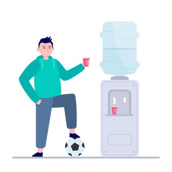 Football player drinking water at cooler