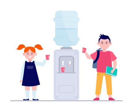 Happy children drinking water at cooler