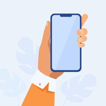 Human hand holding mobile phone