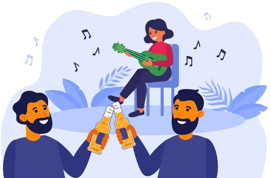 Male friends drinking beer at acoustic concert outdoors