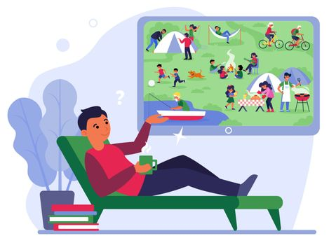 Man on couch watching camping on TV