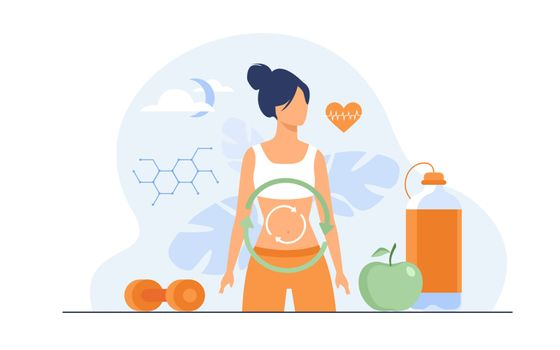 Metabolic process of woman on diet