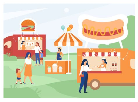 People visiting street food fair