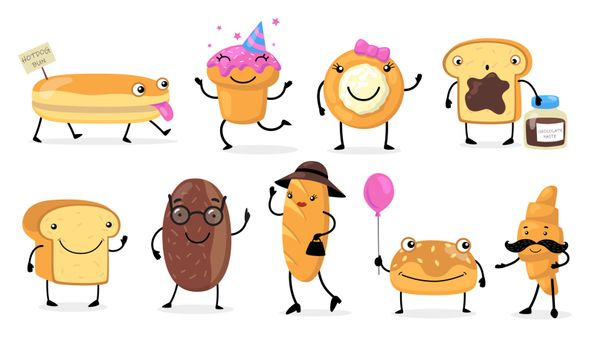 Various funny bread characters