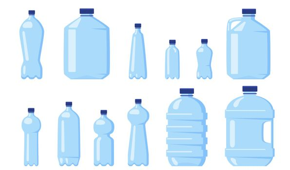 Various water plastic bottles