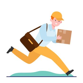 Young courier running with cardboard box