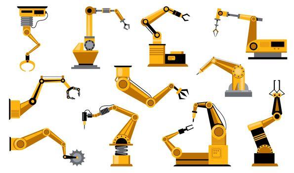 Various manufacturing robots arms