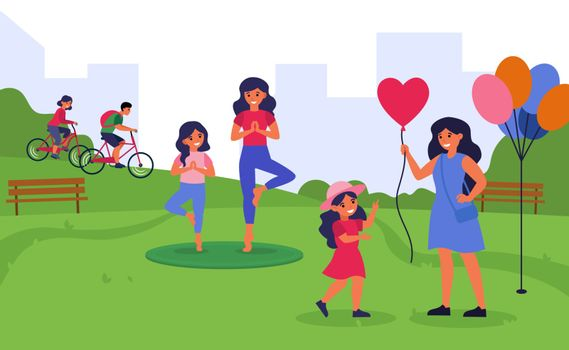 Women spending time with little daughters in public park. Families practicing yoga and walking flat vector illustration. Family leisure concept for banner, website design or landing web page