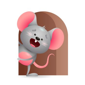 Cheerful grey mouse peeking out from hole