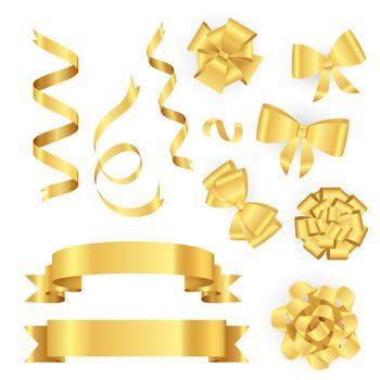 Golden ribbons for gift packing