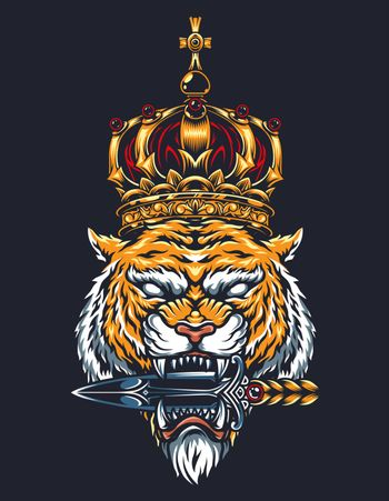 Colorful vintage tattoo concept with cruel tiger head in royal gold crown holding dagger with its teeth isolated vector illustration