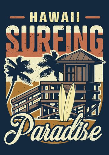 Vintage hawaii surfing colorful concept