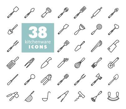 Kitchenware and kitchen appliances vector icon set