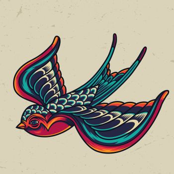Colorful flying swallow template