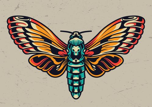 Colorful beautiful butterfly in vintage style