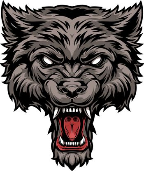 Colorful dangerous scary ferocious wolf head