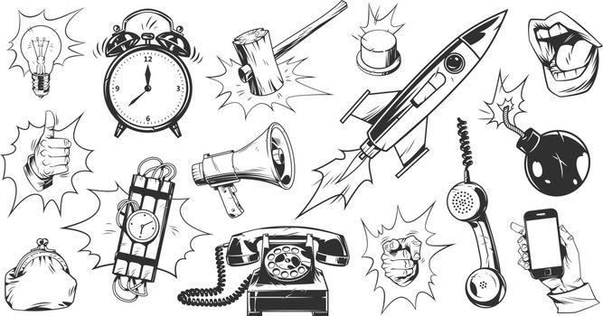 Comic monochrome elements set