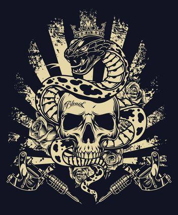 Vintage monochrome tattoo concept with rose flowers tattoo machines and poisonous snake in ornate crown entwined around skull on dark background isolated vector illustration