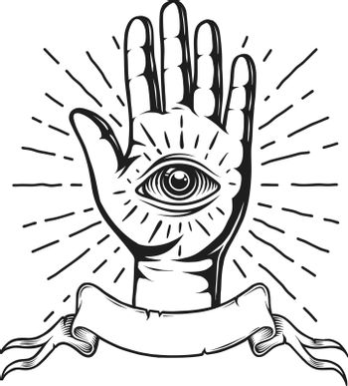 Vintage monochrome tattoo emblem with human eye on hand ribbon and sunburst isolated vector illustration