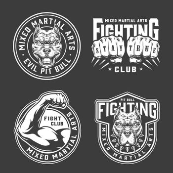 Vintage mixed martial arts prints with angry dog heads fighter fists and strong male arm in monochrome style isolated vector illustration