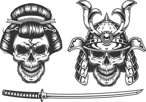 Geisha and samurai concept with skull. Vector illustraiton