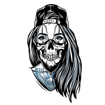 Gangster chicano girl with skull mask wearing baseball cap in vintage style isolated vector illustration