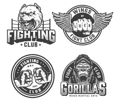 Vintage fight club monochrome logotypes
