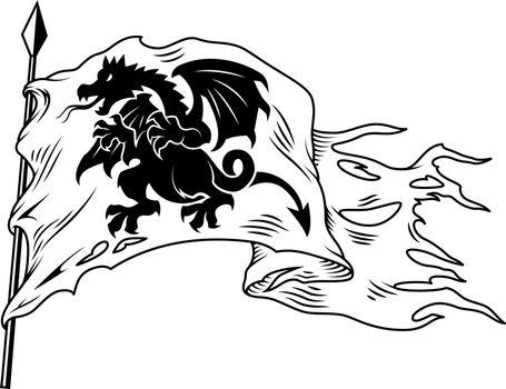 Monochrome flag with dragon