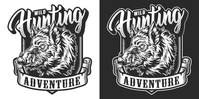 Monochrome hunting vintage label with angry wild boar head and ribbon with adventure inscription isolated vector illustration