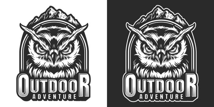 Monochrome wildlife label with serious owl head inscriptions and mountains landscape isolated vector illustration