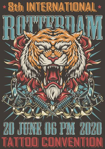Rotterdam tattoo convention colorful poster with angry cruel tiger head in fire crossed tattoo machines and brass knuckles in vintage style vector illustration