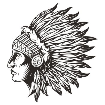 Native american indian chief head