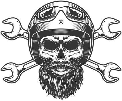 Motorcycle rider skull in moto helmet