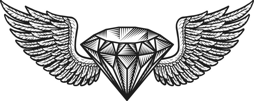 Monochrome winged diamond template