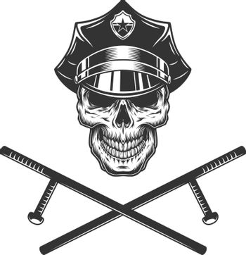 Policeman skull with crossed police batons
